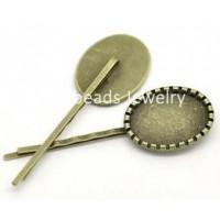 Основа для заколки, 67х21(25х17) мм, Античная бронза