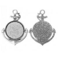 Основа для кулона, 50x37(25) мм, Античное серебро