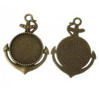 Основа для кулона, 50x37(25) мм, Античная бронза