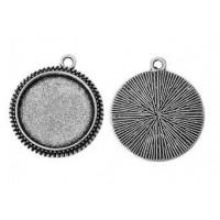 Основа для кулона, 23x20(16) мм, Античное серебро