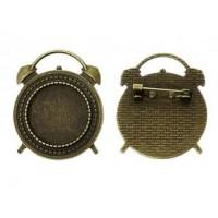 Основа для броши, 37х30(20)мм, Античная бронза
