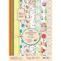 """Набор дизайнерской бумаги """"Birthday"""", А4, 250г/м2, 8л, ROSA START"""
