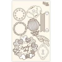 Набор чипбордов для скрапбукинга, Floral Poem 4, 12.8х20см, Rosa