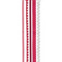 """Набор лент из ткани самоклеющихся """"Красный мак"""", 5шт * 30,5 см, Rosa"""