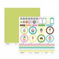 Бумага для скрапбукинга, Cake delicious 6, двост., 30,5х30,5см, 200г/м2, Rosa
