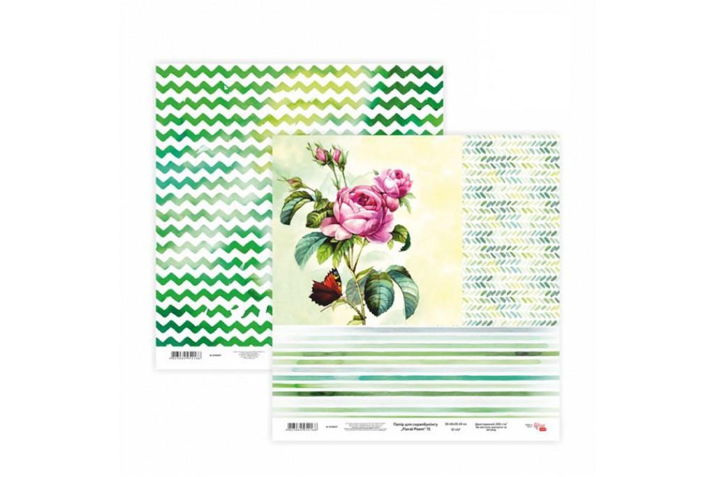 Бумага для скрапбукинга, Floral Poem 15, двосторон., 30,5х30,5см, 200г/м2, Rosa