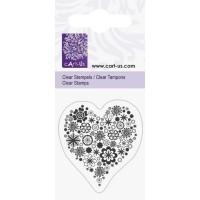Штамп акриловый, Цветочное сердце, 5х6 см