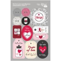 Стикеры для скрапбукинга, Love 2, картон, 12.8х20см, Rosa