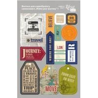 Стикеры для скрапбукинга, Make your journey 1, картон, 12.8х20см, Rosa