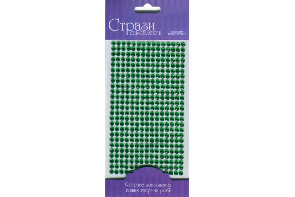 Стразы самоклеющие, Зеленые, 5мм, 375шт, Rosa