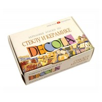 Набор красок по стеклу и керамике Decola на водной основе 6 цветов по 20 мл