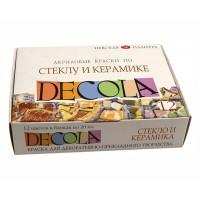 Набор красок по стеклу и керамике Decola на водной основе 12 цветов по 20 мл