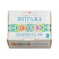 Набор витражных красок Decola на водной основе 6 цветов по 20 мл