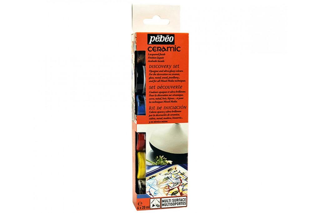 Набор красок на основе растворителя Pebeo Ceramic Discovery по стеклу и керамике 6 цветов по 20 мл
