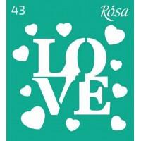 Трафарет Rosa № 43 Love 9х10см