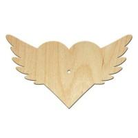 Основа для часов, Сердце с крыльями, 45см, фанера