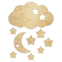 Мобиль-карусель, Месяц и звезды, 24х14см, 6мм, фанера