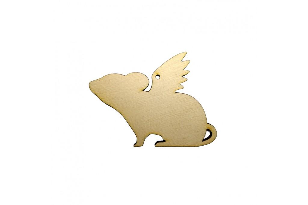 Высечка для декупажа и декорирования Крыска с крыльями 1 6 х 4,5 см фанера