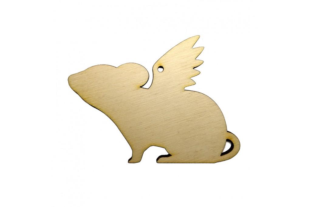 Высечка для декупажа и декорирования Крыска с крыльями 1 10 х 7,5 см фанера