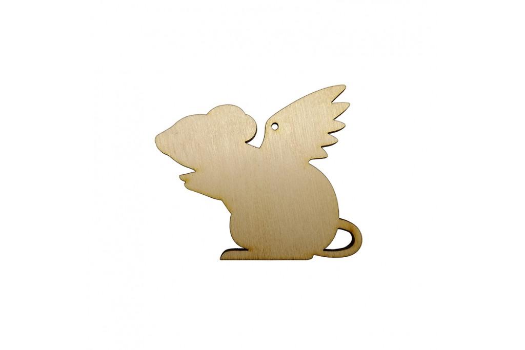 Высечка для декупажа и декорирования Крыска с крыльями 2 6 х 5 см фанера