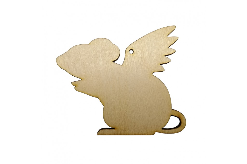 Высечка для декупажа и декорирования Крыска с крыльями 2 10 х 8,5 см фанера