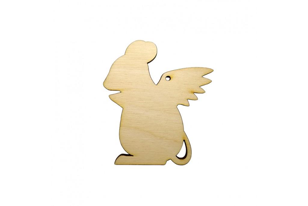 Высечка для декупажа и декорирования Крыска с крыльями 3 5,5 х 5 см фанера