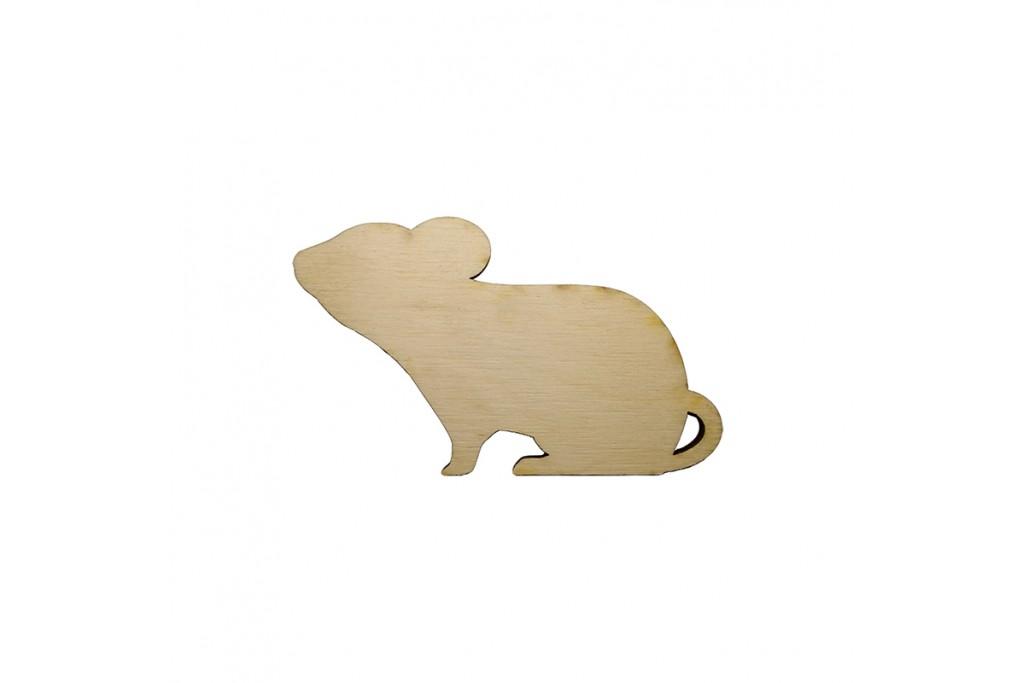Высечка для декупажа и декорирования Крыска 3 6 х 3,5 см фанера
