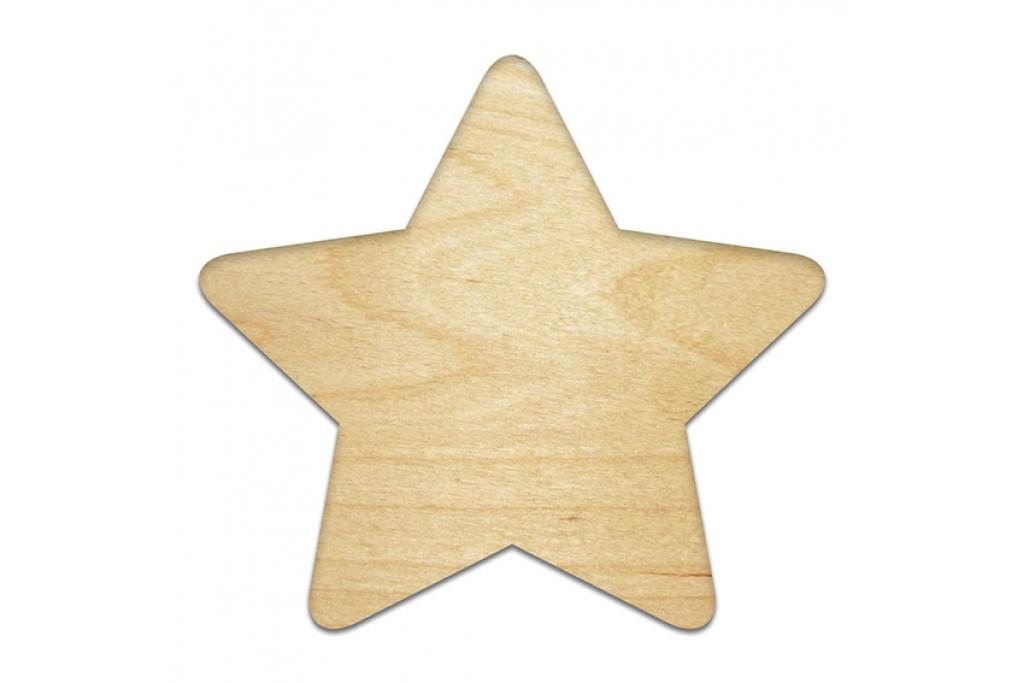 Высечка для декупажа и декорирования, Звезда 1, 4мм, фанера