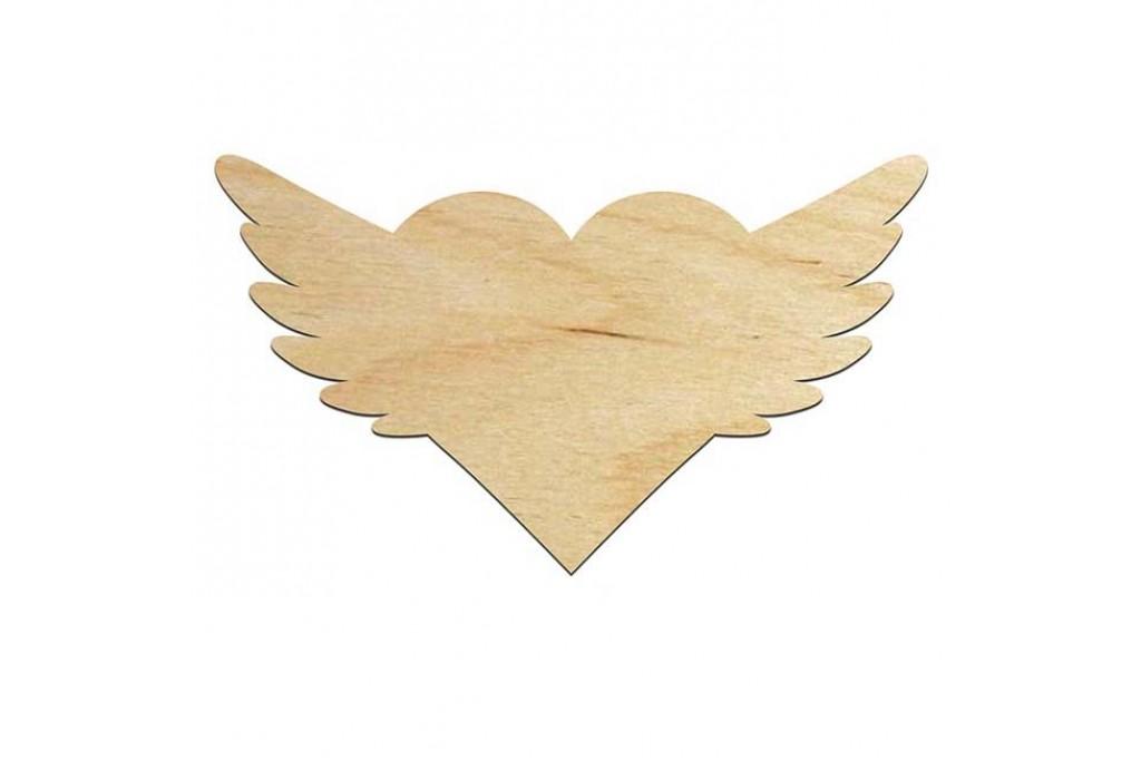 Высечка для декупажа и декорирования, Сердце с крыльями, 10х17см, 4мм, фанера