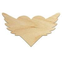 Высечка, Сердце с крыльями, 10х17см, 4мм, фанера