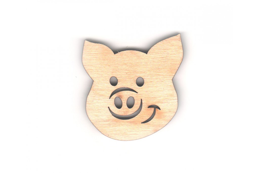 Высечка для декупажа и декорирования, Год Свиньи 2019, Свинка, 5см, 4мм, фанера