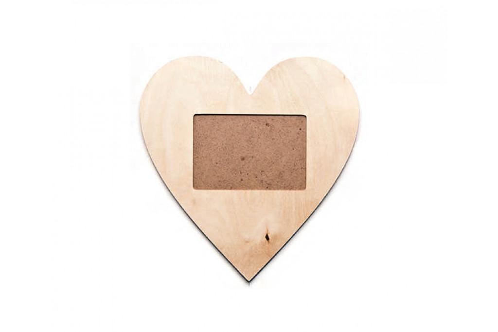 Фоторамка для декупажа, сердце, 9х13см, фанера