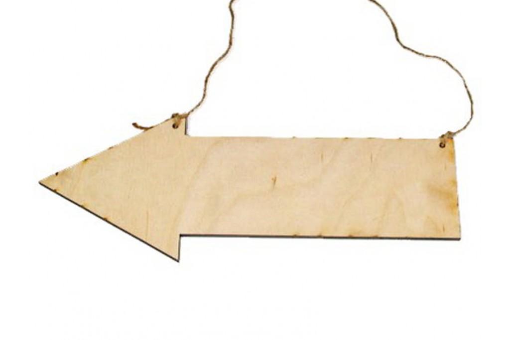 Заготовка для декупажа, панно-указатель для декупажа, 20см, 6мм, фанера
