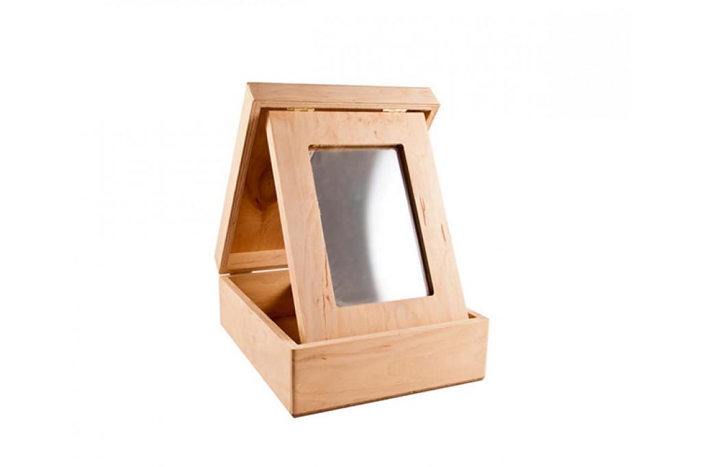 Шкатулка с зеркалом, 18x22х8см, фанера